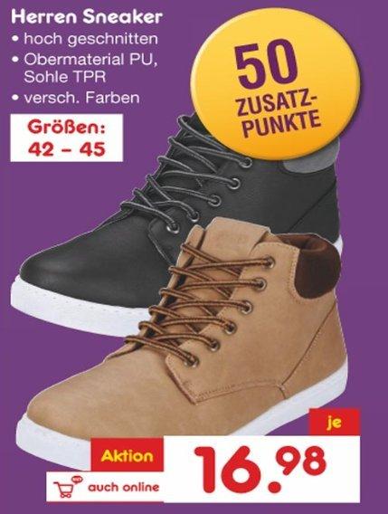 Herren Sneaker Größen: 42 – 45 für 16,98 bei Netto ohne Hund