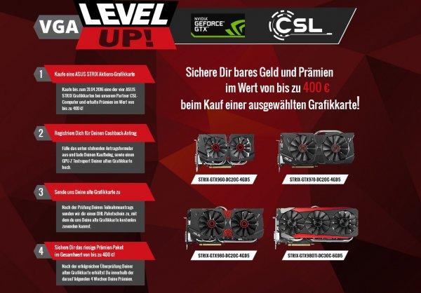 ASUS VGA-Level-Up-Aktion mit bis zu 400€ Cashback dank Prämien