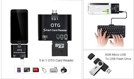 [Zapals] 5 in 1 Micro USB OTG Smart Card Reader (USB 2.0) für 1,79 € / 8 GB Micro USB- und USB 2.0-Stick in einem für 2,21 €