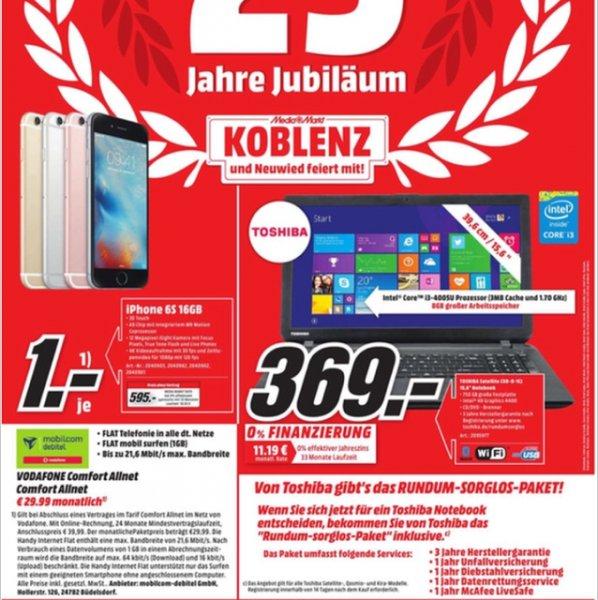 MM Koblenz/Neuwied: Einige gute Apple Angebote, z.B. iPhone 6s 16GB