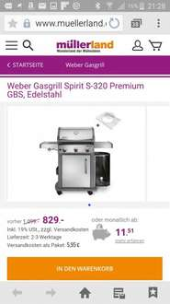 Bauhaus TPG - Weber Gasgrill Spirit S-320 Premium GBS  für 729.52€