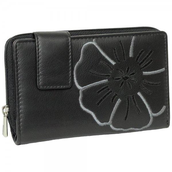Branco Leder Geldbörse Portemonnaie Damenbörse Damen Lang Geldbeutel schwarz, Versand durch Amazon