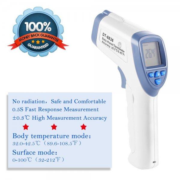 @AMAZON GRDE® Berührungslose Stirn Infrarotthermometer hohe Messgenauigkeit, Fieberwarnung, Speicherkapazität von 32 Gruppen von Messdaten, Auto-Abschaltfunktion - 17,49€ anstatt 25€