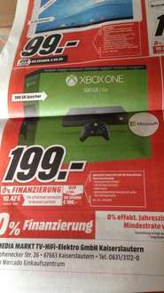 (Lokal)  Xbox One 500 GB Refurbished 199 €  Media Markt Kaiserslautern