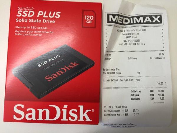 SSD 120gb für 33€ - Sandisk SSD PLUS - Medimax Kiel Lokal evtl. TPG Bundesweit (Neueröffnung)