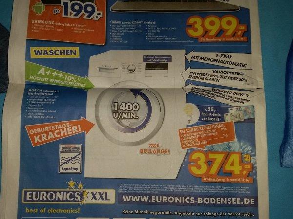 [Lokal] Bosch Wan 28290 Stand-Waschmaschine-Frontlader weiß für 374 Euro (Vergleichspreis: 485 Euro) bei Euronics in Tettnang