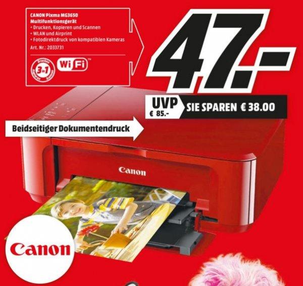 Lokal Media Markt Hamburg, Tintenstrahl-Multifunktionsdrucker Canon Mg 3650 Pixma in elegantem Rot wieder günstig für 47 €