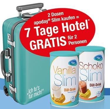 Abnehmpulver kaufen und 7 Tage Hotelaufenthalt für bis zu 4 Personen geschenkt erhalten