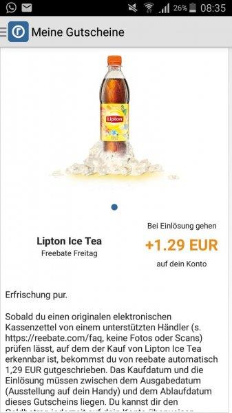 reebate freebate Lipton Eistee