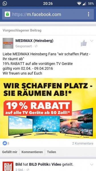 Lokal Heinsberg Medimax 19% auf TVs ab 50 Zoll