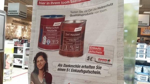 """(lokal? Stade bei Hamburg ) 5 euro Toom Einkaufsgutschein für das """"testen"""" von holzlasuren"""