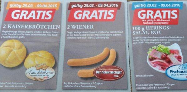 [Evtl. Bundesweit] Real Markt Gratis Brötchen,  Würstchen und Würstchen
