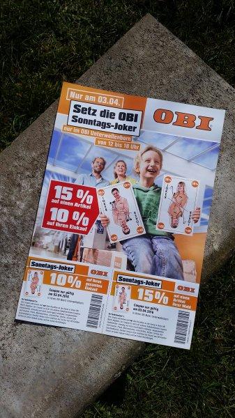 [Lokal Unterwellenborn] Obi - 10% auf Einkauf, 15% auf einen Artikel am 03.04