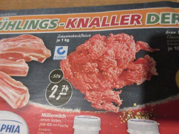 REAL Schweinehackfleisch  / Hackfleisch 1Kilo - 2,79 Euro