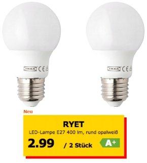IKEA: LED - Lampen im Doppelpack ab 2,99 Euro