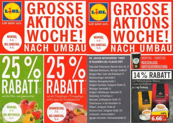 [LOKAL / BW] GROSSE AKTIONSWOCHE BEI LIDL (NACH FILIALUMBAU) 25% Rabatt auf Obst und Gemüse + 25% Rabatt auf Frischfleisch / Geflügel / Fisch