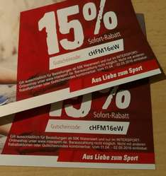 INTERSPORT 15% Gutschein