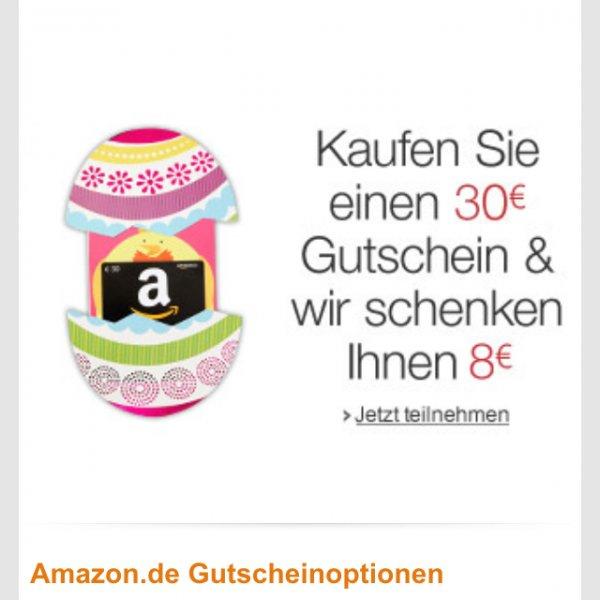 Amazon: 8 Euro Gutschein bekommen beim Kauf eines 30 Euro Gutscheins.