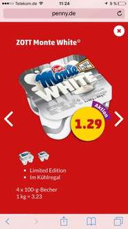 ( Penny) Zott Monte White 4x 100gr Becher Limited Edition 100% Milchcreme