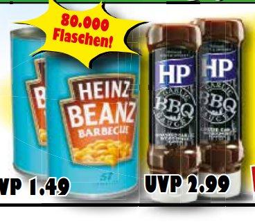 [HAFU/JAWOLL] HP BBQ Sauce Roasted Garlic 465g bzw Heinz Baked Beans BBQ 390g für nur 0,50€