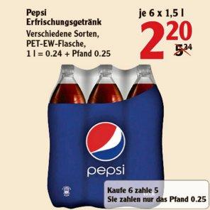 [BOBENHEIM-ROXHEIM] Pepsi / Mirinda / Schwip Schwap / 7 UP & light 6x1,5l für 2,20€ (=0,37€/Flasche // 0,24€/Liter)