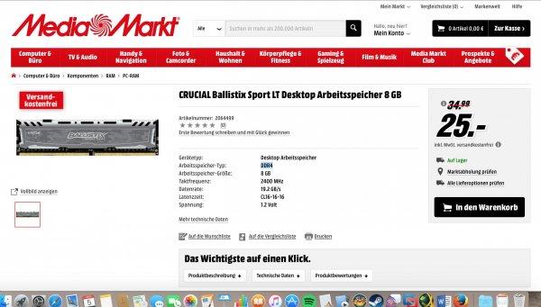CRUCIAL Ballistix Sport LT DDR4 8GB RAM