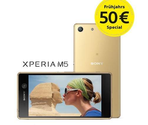 """Sony """"Frühjahrs-Special""""-Aktion: 50 € Cashback auf das Sony Xperia M5 (gültig auch für Mobilfunkverträge)"""