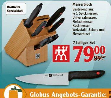 """[KOBLENZ/LAHNSTEIN] Globus: Zwillig 7-teiliges """"Twin Point"""" Messerblock-Set aus Holz mit Schere für 79,99€"""