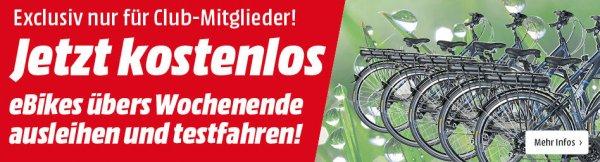 [Lokal Mediamärkte Rhein-Neckar Gebiet)Ein Wochenende lang, kostenlos E-Bike ausleihen und Testen.Nur für Clubmitglieder.KEIN KAUFZWANG