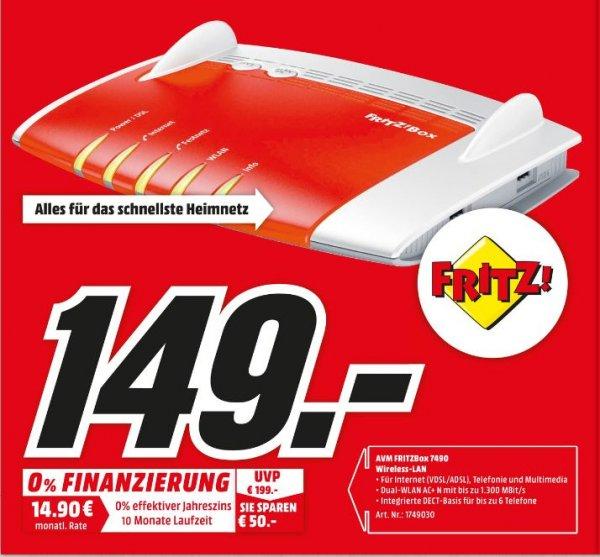 [Lokal Mediamarkt Köln City am Dom] AVM FRITZBox 7490 Wireless Lan AC + N Router (VDSL/ADSL, 1.300 Mbit/s (5 GHz), 450 Mbit für 149,-€