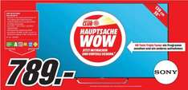 [Lokal Mediamärkte Aalen,Nördlingen,Ellwangen Heidenheim und Schwäbisch Gmünd) SONY KD55X8005 CBAEP, 139 cm (55 Zoll), LED TV, SMART TV, EEK: A, UHD 4K, 200 Hz XR, 4K Prozessor X1, DVB-T, DVB-T2, DVB-C, DVB-S, DVB-S2, Android TV, WLAN, Flat für 789,-