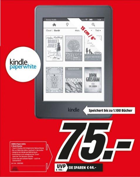 [Lokal Mediamarkt Köln City am Dom] KINDLE PAPERWHITE 6 Zoll WLAN und USB E-Book Reader Schwarz für 75,-€