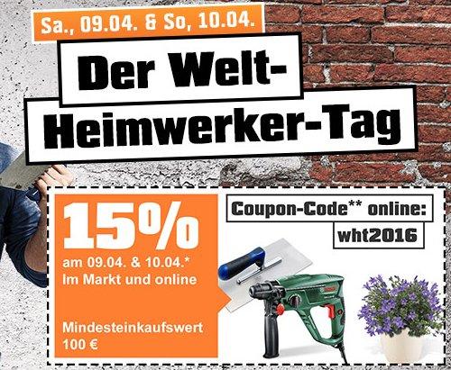 OBI Welt-Heimwerker-Tag am 9. und 10. April - 15% Rabatt + 10 bis 12% Rabatt bei der Konkurrenz *UPDATE*