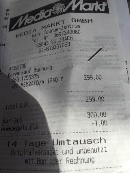[Lokal] iPad Mini 2 32GB WiFi+4G 299,00 € MediaMarkt Main-Taunus-Zentrum