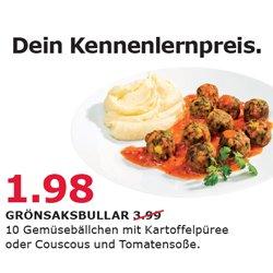 [Regio] IKEA Freiburg GRÖNSAKSBULLAR (Gemüsebällchen) mit Kartoffelpüree und Tomatensoße 1,98€ statt 3,99€