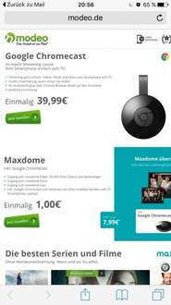 Maxdome inklusive chromecast