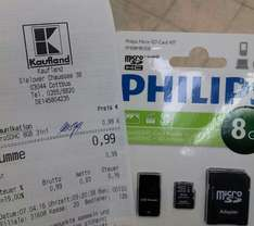 [Kaufland Center Cottbus] Phillips Micro SD Card KIT 8 GB - 0,99 €