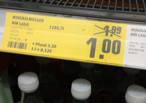 |Bundesweit? REWE] Lago oder ähnliche marke Kiste Wasser für 1 € + Pfand