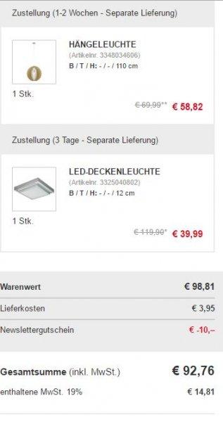 XXXL Online Shop u.a. Lampen teilweise 67% Rabatt-10€ Newsletter-5% Qipu