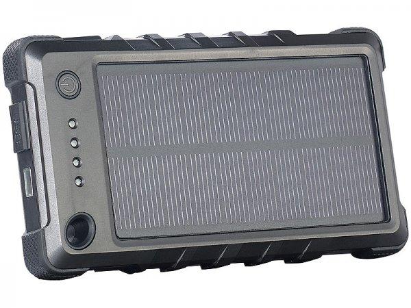 Für den Sommer: Wetter- und stoßfeste Solar-Powerbank 8.000 mAh + Taschenlampenfunktion