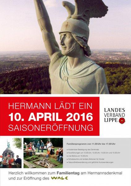 [Lokal Detmold] Hermannsdenkmal: Familientag, So.,10.4.16 - kostenlose Führung & Besteigung des Denkmals + Aktionen für Kinder