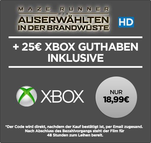 25€Xbox Live Guthaben für 18,99€ + Maze Runner in HD @Wuaki.tv