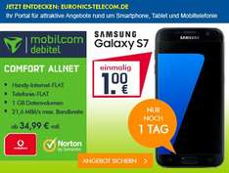 Samsung G930 Galaxy S7 + Mobilcom-Debitel - Vodafone Comfort Allnet 34,99 I 1 GB Datenvolumen - AP FREI