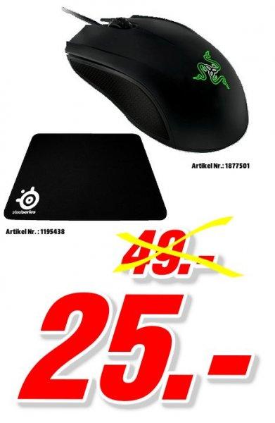 [Mediamarkt Porta Westfalica Bundesweit] Razer Abyssus 2014 Gaming Maus (3500 dpi, 3 programmierbare Tasten, für Rechts und Linkshänder) schwarz + SteelSeries QcK Gaming Mauspad schwarz für 25,-€ Versandkostenfrei
