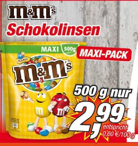 [Posten-Börse] M&M´s Peanut (evtl.auch auch andere Sorten). 1 Halbes Kilo für nur 2,99€*entspricht 0,60€ pro 100 Gramm