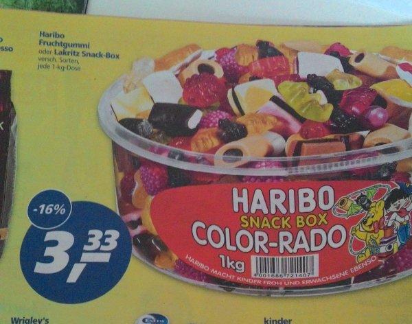 (Lokal Bruchsal vielleicht Bundesweit) Haribo Snack Box Color-Rado 1KG und andere Sorten 3,33€ bei real