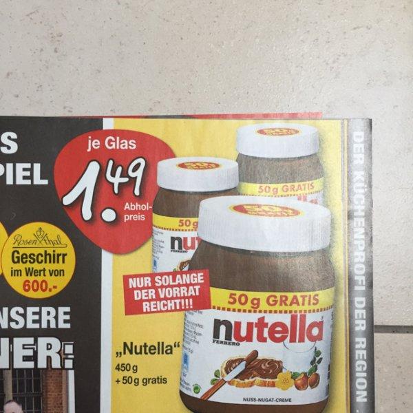 Nutella 500g Glas für 1,49€ bei Möbel Buhl in Fulda