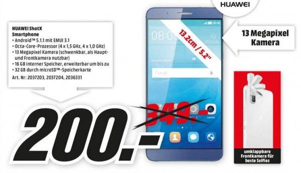 [Lokal Mediamärkte Rhein-Neckar Gebiet] Huawei ShotX,LTE, 5.2 Zoll FHD-Display, 1.5GHz OctaCore-CPU, 13MP Kamera,Alle Farben für je 200,-€