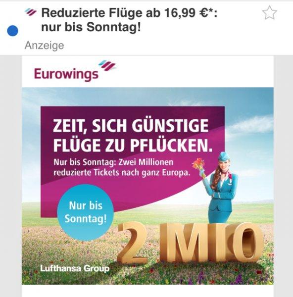 Eurowings Flüge ab 16,99