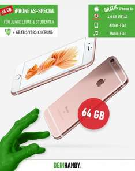 iPhone 6s 64 GB + Vodafone Smart Young XL + Handyversicherung